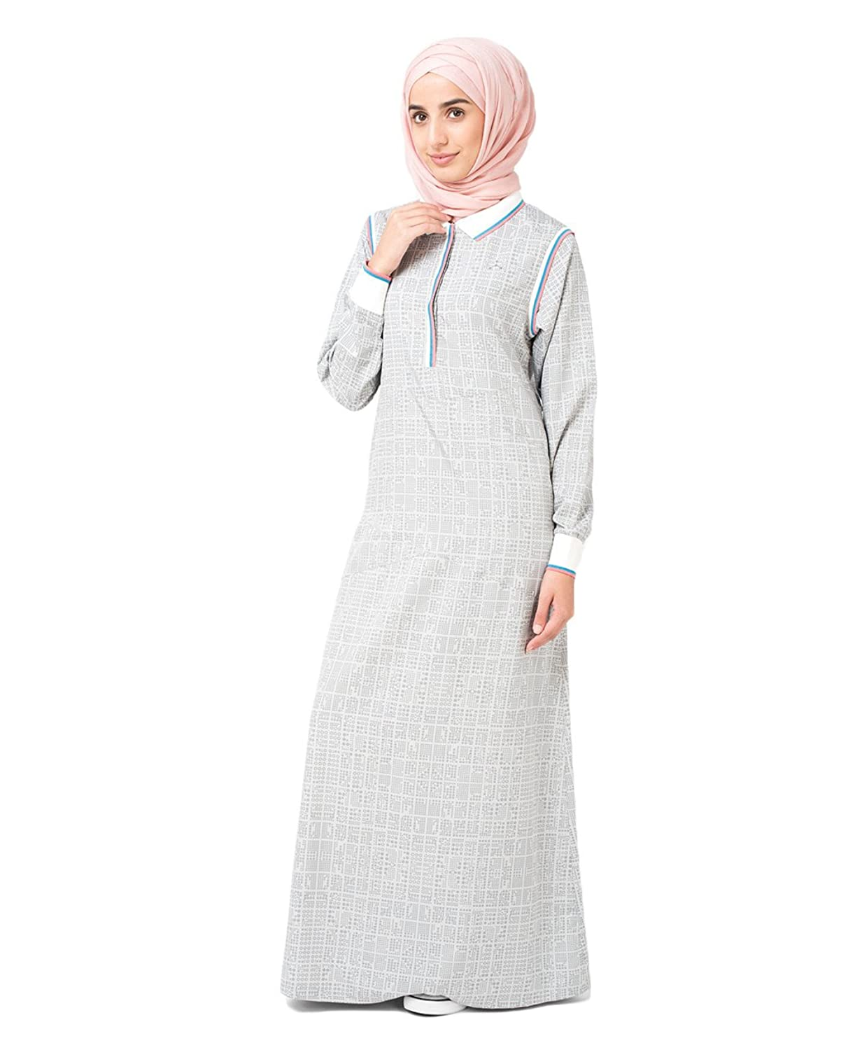 SilkRoute? Grey Checked Jilbab Sporty design, Maxi Summer full sleeve Long Dr...