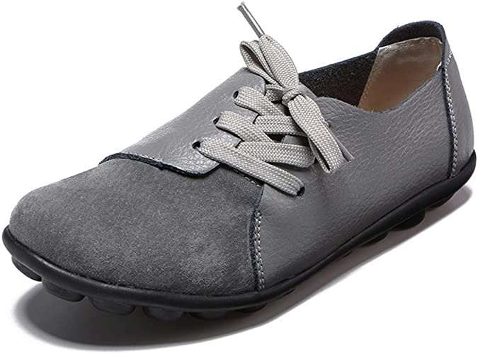 Womens Ladies Flat Loafers Soft Leather