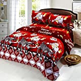 This bedding set includes a duvet cover, a bed sheet and 2pcs pillowcases. 50% of the material is cotton, which protects children's skin and ensures soft hand-feel. The bedding set is in Christmas theme. With 3D pattern on it, you can enjoy d...