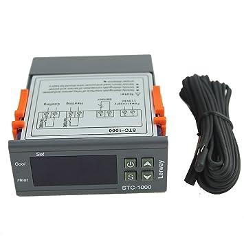 Regulador de temperatura digital Lerway STC-1000 220 V con 2 relés, termostato para radiador de aceite, chimenea eléctrica, panel de solar, estufa ...