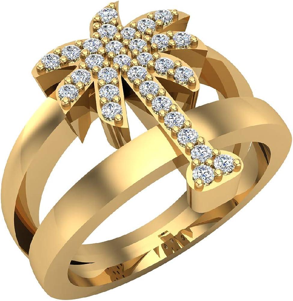 Trendsetter - Anillo de diamante de palma, 0,31 quilates, oro de 14 quilates (I,I1): Amazon.es: Joyería