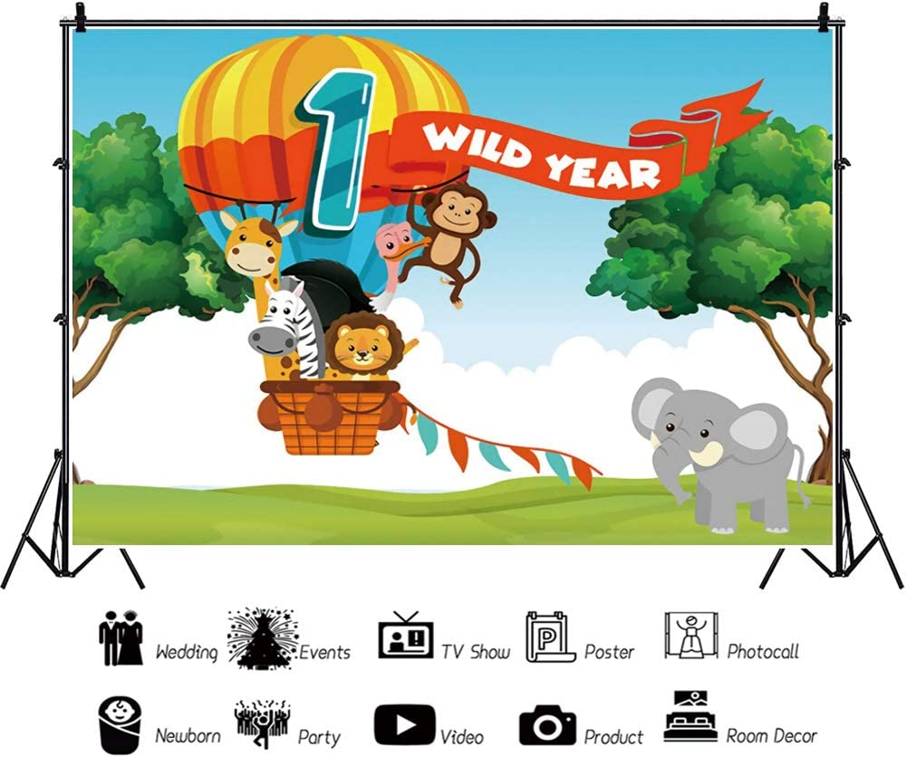 Haoyiyi 5x3ft Happy Birthday Background Cartoon Animals Wild One First Hot Air Balloon Backdrop Photography Photo Child Kids Activity Party Baby Shower Decorated Pictures Photocall