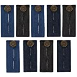 TOODOO 9 Pieces Waist Extender with Metal Button for Pants, Jeans, Trousers and Skirt (Black, Blue and Deep Blue)