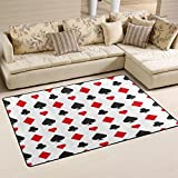 ALAZA Casino Poker Card Black Red Area Rug Rugs Carpet for Living Room Bedroom 60 x 39 inches