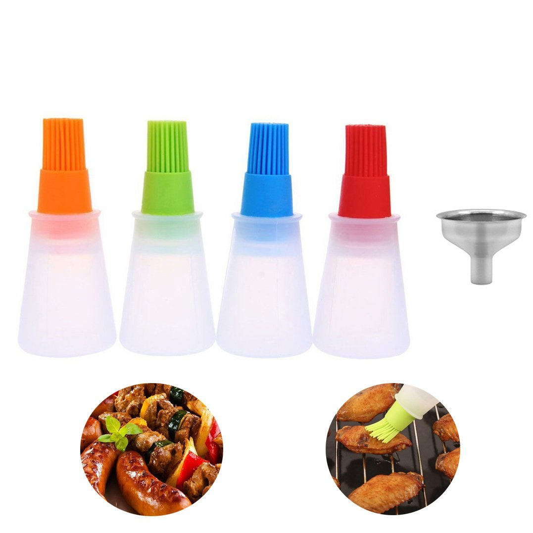 Kalolary Oil Bottle Brush- Silicone Pastry Brush For roasting, sauteing, baking or Grilling, Frying, BBQ, Cooking Oil Dispenser Kitchen Tools Accessories(4 Pcs)