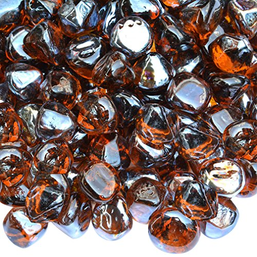 Onlyfire Reflective Fire Glass Diamonds for Natural or Propane Fire Pit, Fireplace, or Gas Log Sets, 10-Pound, 1/2-Inch, Amber