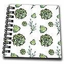 3dローズAnne Marie Baugh–パターン–Pretty水彩グリーン多肉植物パターン–Drawing Book 4x4 notepad db_263512_3
