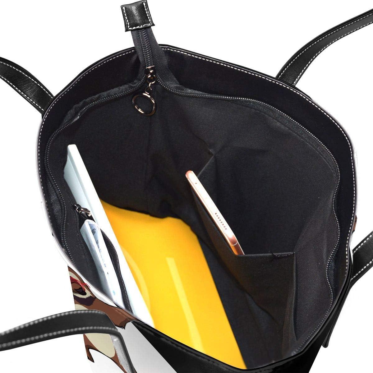 WAY.MAY Dabbing Sloth Leather Tote Bags Zippered Handbags Shoulder Bag