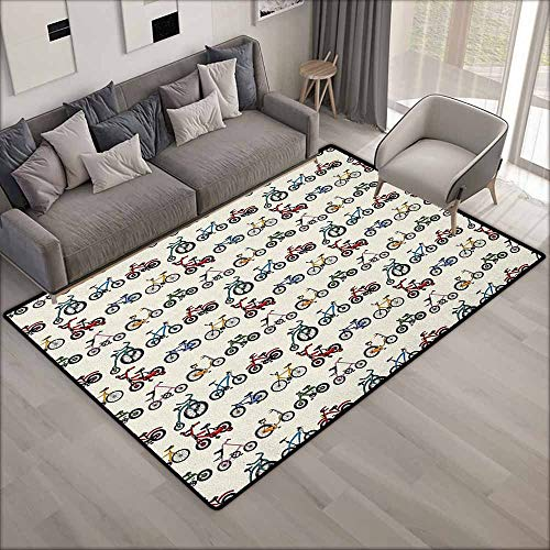 Bedroom Rug,Kids Colorful Collection of Bicycles with Boys Girls Riding Sports Activity Themed Pattern,Anti-Slip Doormat Footpad Machine Washable,3'11