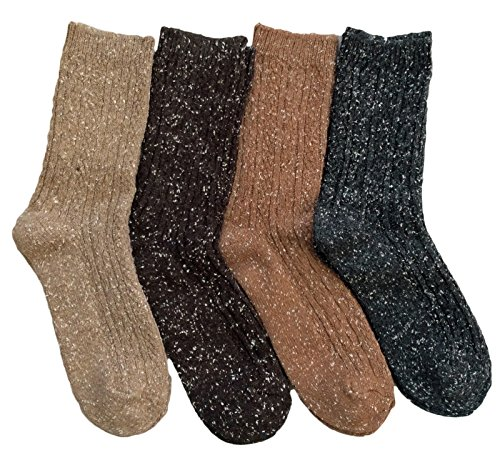 Lian LifeStyle Women's 4 Pairs Pack Fashion Soft Cotton Crew Socks Size 6-9 HR1614(Coffee, Brown, Tan, Dark Grey)
