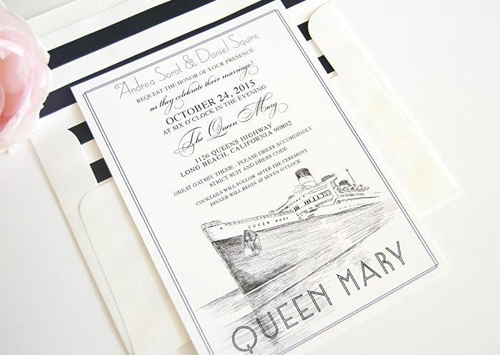Amazon Com Long Beach Queen Mary Skyline Wedding Invitations
