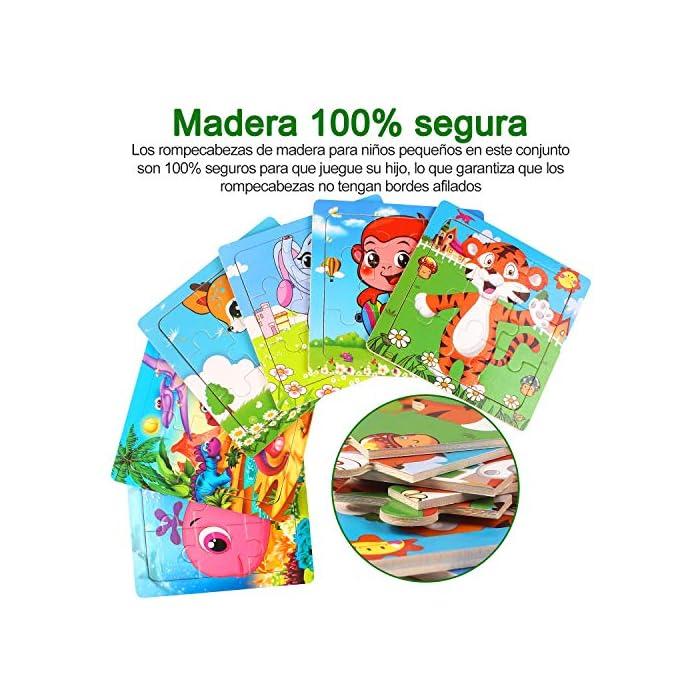 61Hcl2at9IL 【Incluyendo】Rompecabezas infantiles con Tigre, Elefante, Ciervo Sika, Ballena, Mono y Dinosaurio 6 rompecabezas (9 cada uno). Cada rompecabezas mide 5.9 * 5.9 pulgadas y es adecuado para pequeños agarres de las manos; es fácil de transportar y adecuado para viajar. Los colores brillantes y los lindos diseños de animales atraen a sus hijos a jugar, lo que facilita que los niños aprendan y recuerden. 【Calidad y Seguridad】Nuestros Wooden Jigsaw Puzzles están hechos de materiales ecológicos, no tóxicos, resistentes y duraderos. Todas las esquinas han sido meticulosamente diseñadas, sin esquinas afiladas y esquinas redondeadas, lo que es seguro para su hijo. Buen toque Cada rompecabezas tiene un marco de madera que ayuda a mantener las piezas en su lugar. 【Aprendar mientras Jugar】¡A los niños les encantan los rompecabezas! Son muy interesantes, inspiradores y emocionantes, ¡aprenderán mientras juegan! No solo proporciona diversión para los niños, sino que también los ayuda a practicar la resolución de problemas y el razonamiento espacial a medida que completan el rompecabezas.