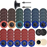 """NYXCL 60Pcs 2 inch Roloc Quick Change Sanding Discs Set, 2Pcs 1/4"""" Holders, Die Grinder Surface Conditioning Burr Rust Paint Removal"""