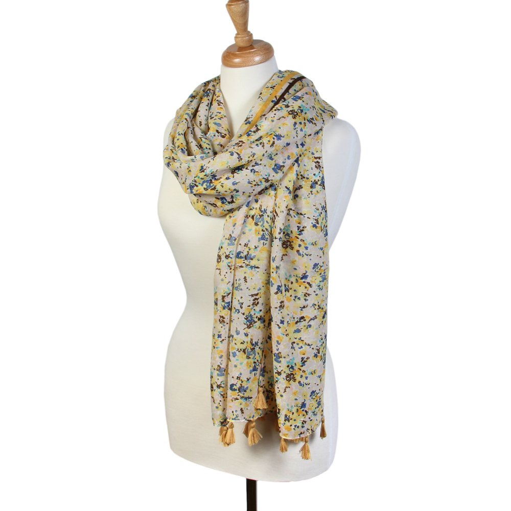 Scarfand's Spring-Summer Floral Print Scarf Wraps (Painted Small Floral Yellow)