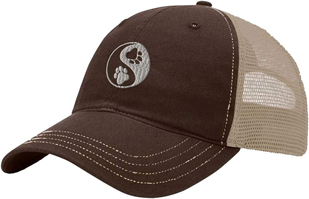Custom Trucker Hat Richardson Yin Yang Paw Silver Embroidery Dog Name Cotton