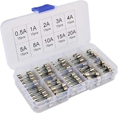 Set of 100 Fast-blow Glass Fuse Quick Blow Car Glass Tube Fuses Assorted Kit