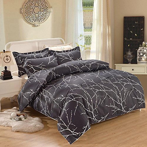 ueen, 3-Piece Branches Pattern Printed on Charcoal Dark Gray Grey, Soft Microfiber Bedding (3pcs, Queen Size) (Branch Comforter Set)