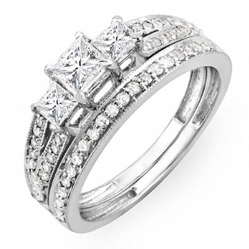 1.00 Carat (ctw) 14K White Gold Princess 3 Stone Diamond Engagement Bridal Ring Set 1 CT (Size 7.5)