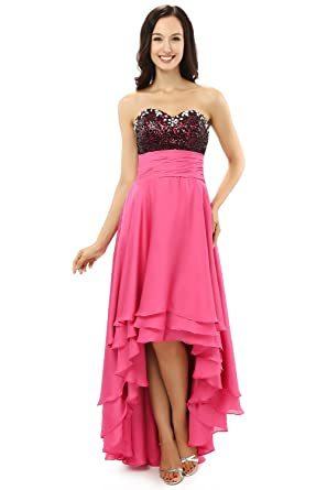 Butalways High Low Prom Dress Gown Hot Pink Formal Evening Dress Party Dress (0)