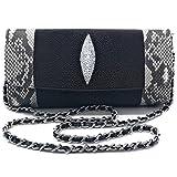 Women Genuine Stingray Mix Snake Leather Shoulder Bag Or Cross body Bag Best Seller Lady-Black Color
