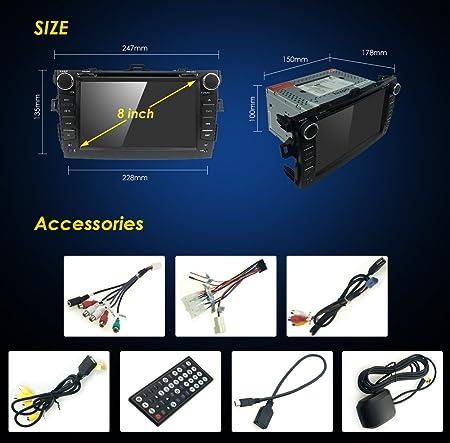Reproductor de DVD y CD para coche WiFi Android 7.1 GPS estéreo de 8 pulgadas para Toyota Corolla 2007 2008 2009 2010 2011 Bluetooth,GPS,RDS,Radio: ...