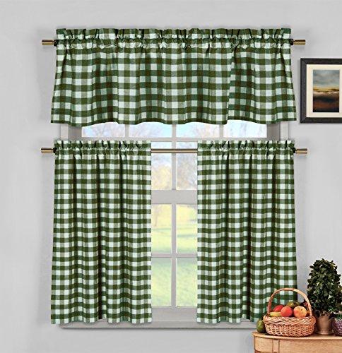 - 3 Piece Plaid, Checkered, Gingham Kitchen Curtain Set: 35% Cotton, 1 Valance, 2 Tier Panels, Rod Pocket (Sage Green)