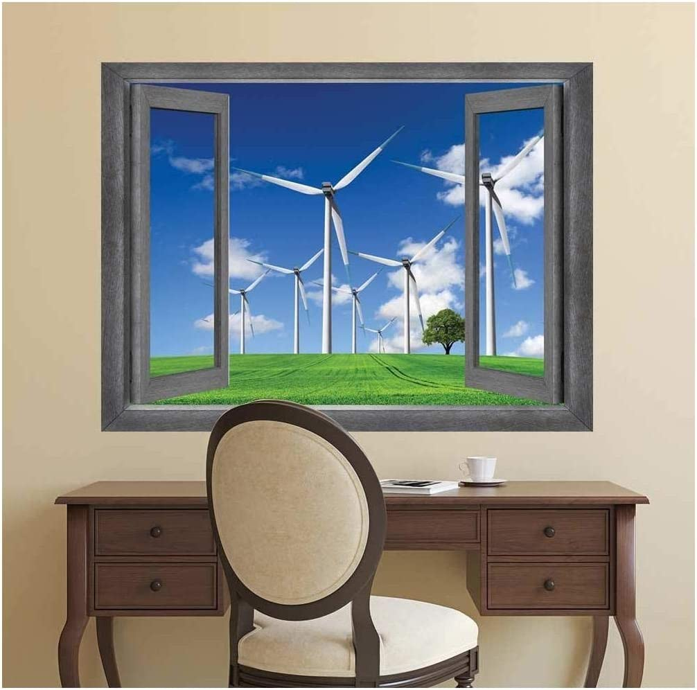 Open Window Creative Wall Decor - Windmills on The Country Side - Wall Mural, Removable Sticker, Home Decor - 36x48 inches