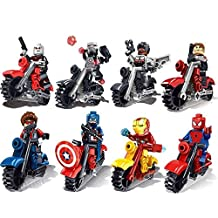 New Fun Mini Toys for Children Kids Avengers Super Heroes with Motorcycle Minifigures Building Brick Blocks Toy, 8Pcs/Set ABS Plastic Multi-color