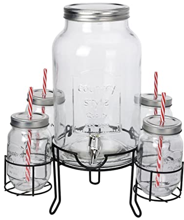 Getränke Spender Set - 1 x 4,5l Glas mit Zapfhahn und Gestell + 4x ...