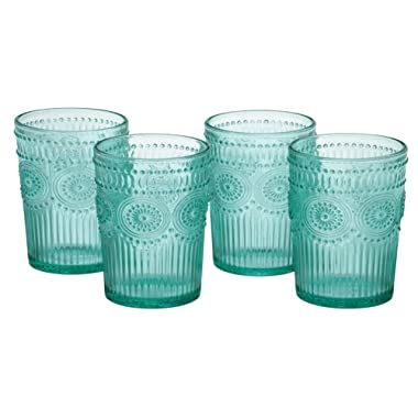 The Pioneer Woman Adeline 16-Ounce Emboss Glass Tumblers, Set of 4 (Turquoise)