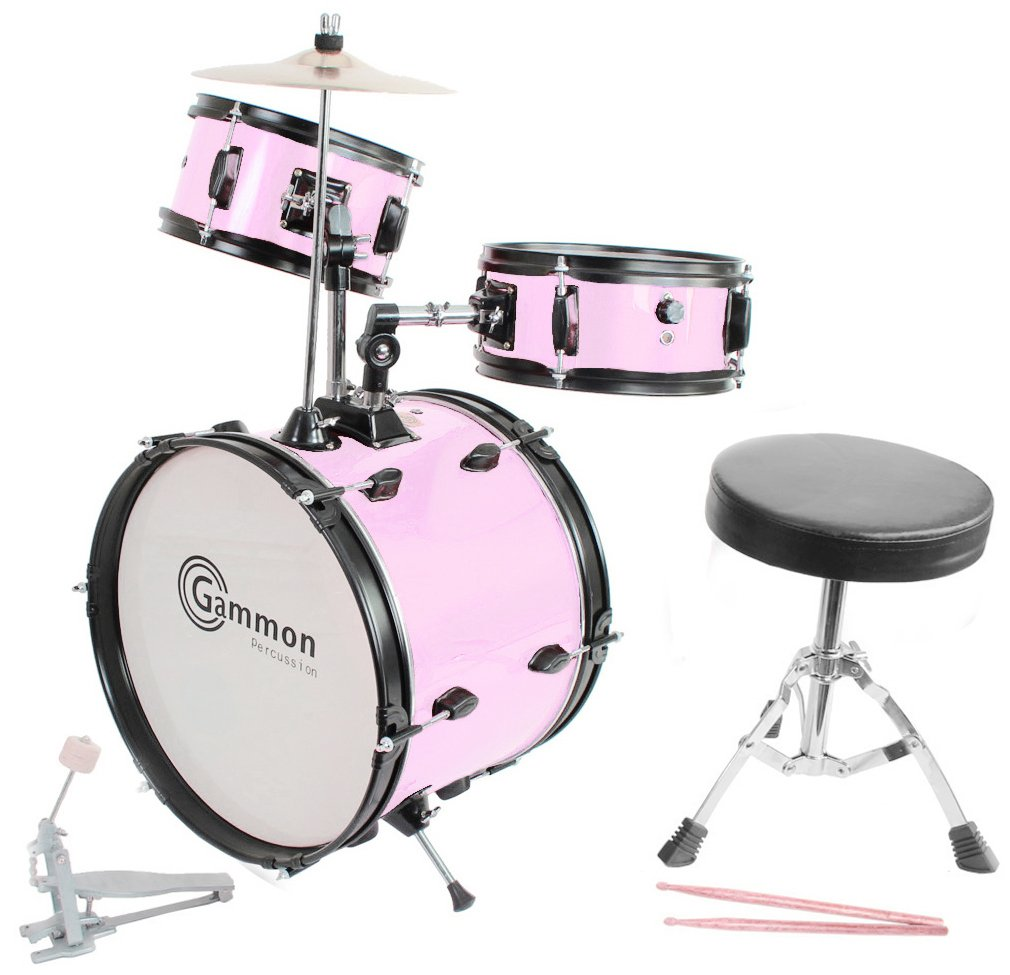 Pink Drum Set Complete Junior Kid's Children's Size with Cymbal Stool Sticks - Everything You Need to Start Playing by Gammon Percussion