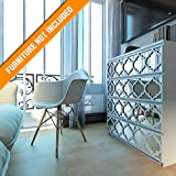 HomeArtDecor | Trellis Lattice Fretwork | Suitable for IKEA Malm | 31.49 x 7.87 inches | Color: White and Mirror | Modern Furniture Decoration | Handmade Fretwork Hardware | Home Décor