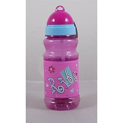 Botella Sport de plástico en relieve con texto a nombre RITA H 19 cm