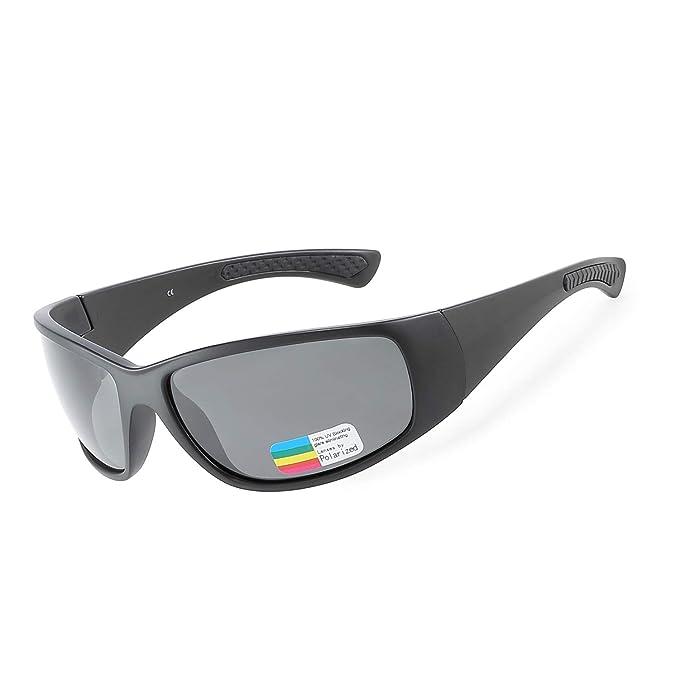 a1310a348b9 ZHILE Polarized Wrap Around Sports Sunglasses for Men Driving Baseball  Running Cycling Fishing Golf (Black