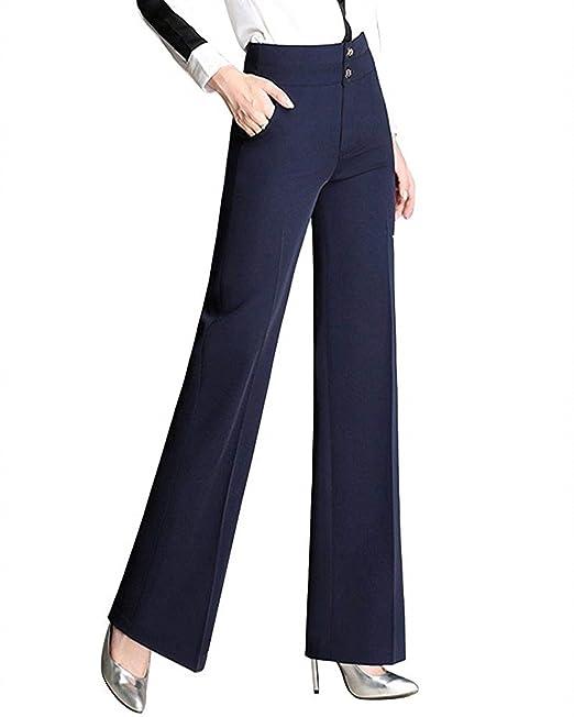 Lanceyy Pantalones De Traje Mujer Pantalones De Negocios Pantalones De Tiempo  Libre Pantalones Anchos Largos Cintura Alta Elegantes Fashion Primavera ... 62b44741acdf
