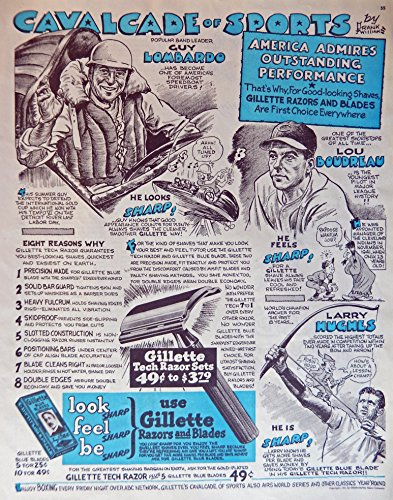 Gillette Razors and Blades, 40's Print ad. Full Page Color Illustration (Guy Lombardo, Lou Boudreau, Larry Hughes) Original Vintage 1947 Collier's Magazine Print Art