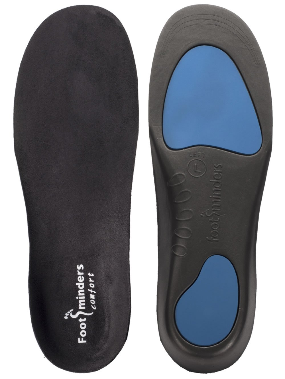 Footminders Comfort Orthotic Arch Support Insoles for Sport Shoes and Work Boots (Pair) (Large: Men 9½ -11 Women 10½ - 12) - Relieve Foot Pain Due to Flat Feet and Plantar Fasciitis by Footminders