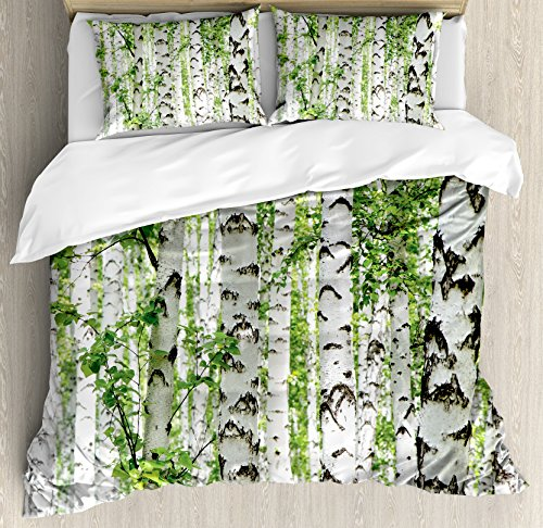 Ambesonne Woodland Decor Duvet Cover Set, Birch Trees in the Forest Summertime Wildlife Nature Themed Decorating Picture, 3 Piece Bedding Set with Pillow Shams, Queen/Full, White Green (Sham Birch)