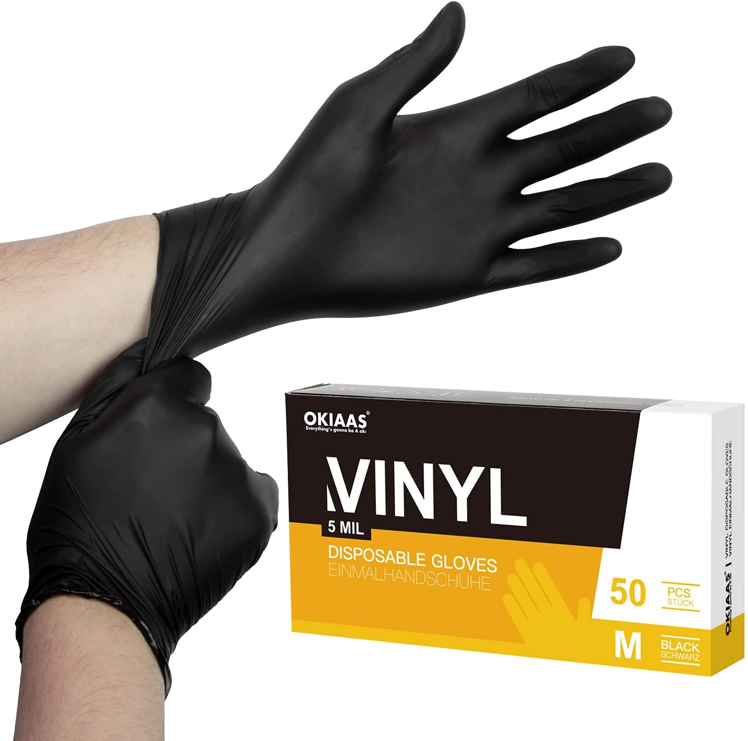 OKIAAS Black Disposable Gloves Medium, Vinyl Gloves Disposable Latex Free, 5 mil, 50 Count, for Food Prep, Household Cleaning, Hair Dye, Tattoo