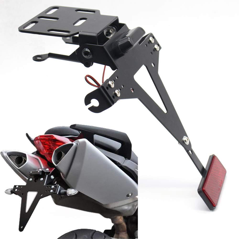 Monland Soporte Sostenedor De Marco De N/úmero De Matr/ícula De /ángulo Ajustable De Motocicleta para YZF R1 R3 R6 R15 R25 Fz6 Mt-07 MT 07