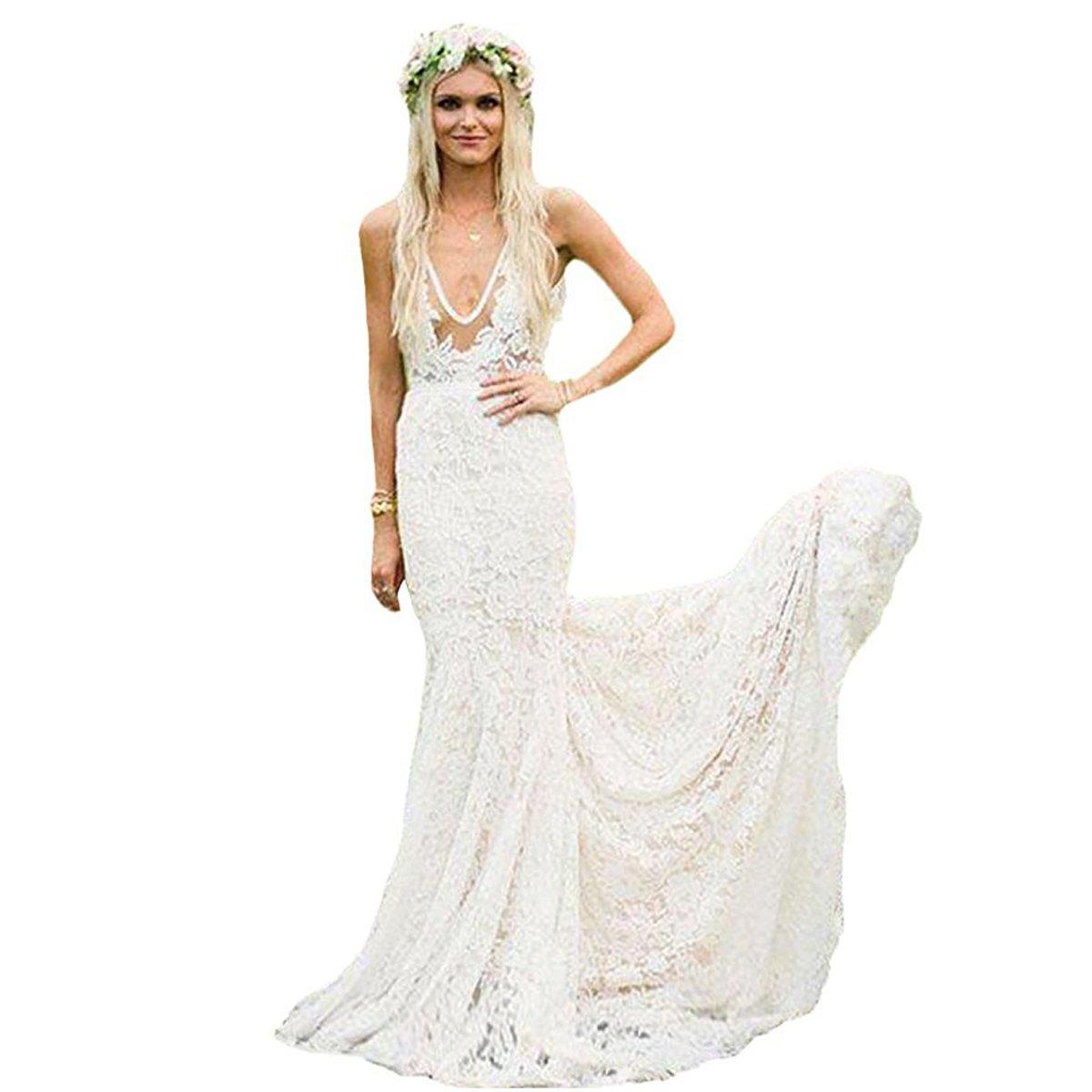 Lnxianee Womens V Neck Bohemian Lace Wedding Dresses Long 2018 Boho