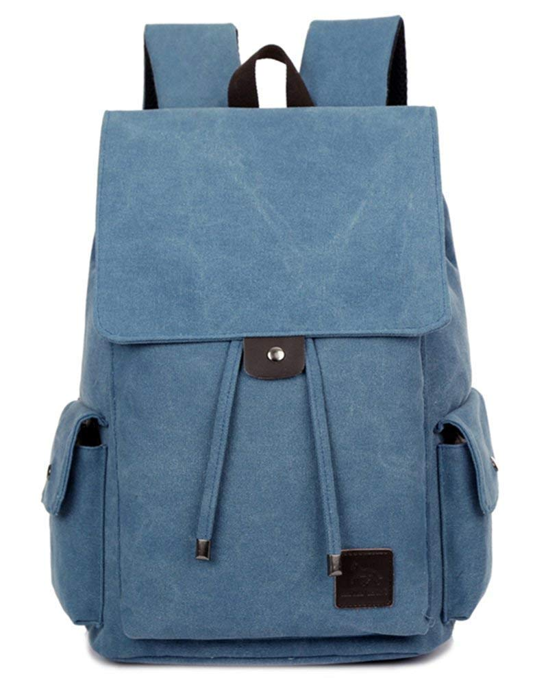 blue One Size Lounayy Canvas Vintage Fashion Teenager Travel Daypacks School Backpack Kids Backpack Cotton Fabric Outdoor Backpack Ladies Men City Backpack (color   Khaki, Size   One Size)