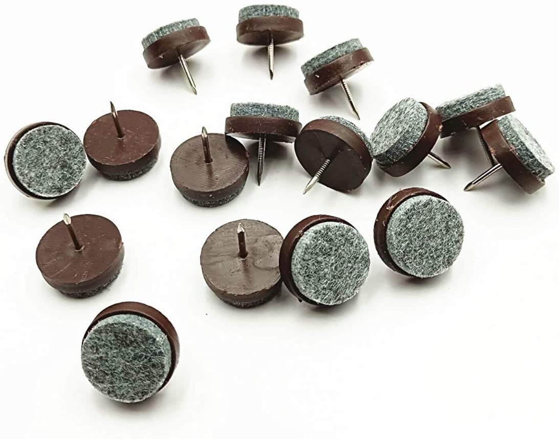 LYM 30pcs Round Heavy Duty Nail-on Anti-Sliding Felt Pad Brown for Wooden Furniture Chair Tables Leg Feet by Alimitopia (20mm)