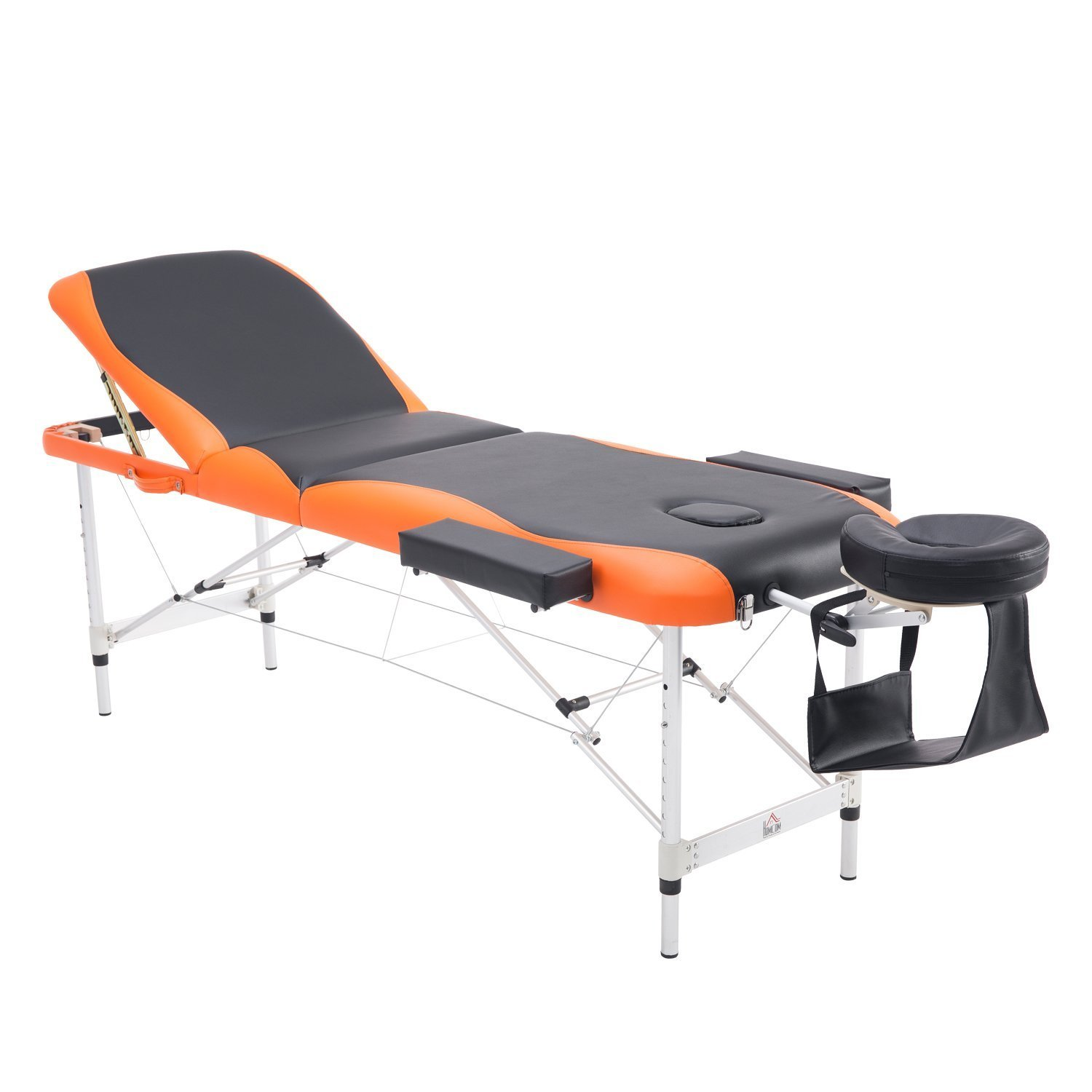 HOMCOM 73 3 Section Foldable Massage Table Professional Salon SPA Facial Couch Bed (Black/Orange) Aosom Canada CA700-0390231