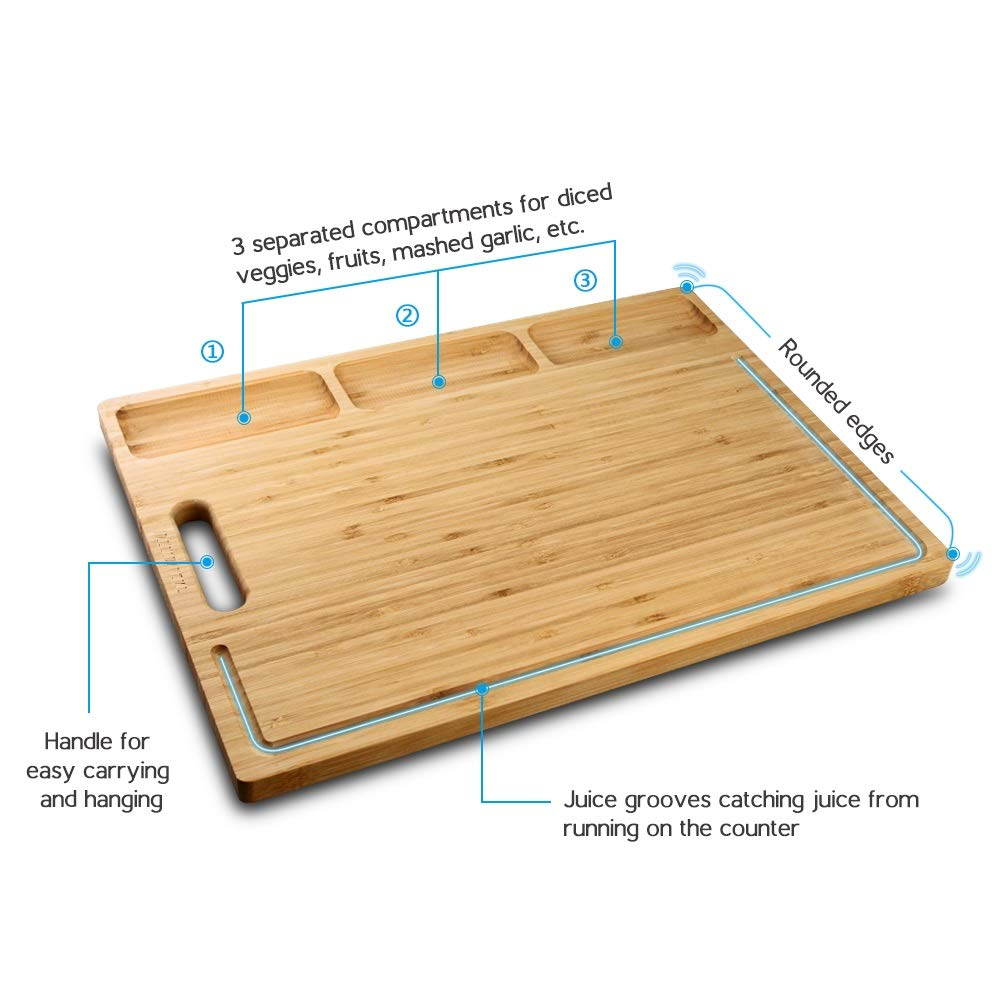 HHXRISE Venfon Large Organic Bamboo Cutting Board For Kitchen, With 3 Built-In Compartments And Juice Grooves, Heavy Duty Chopping Board For Meats Bread Fruits, Butcher Block, Carving Board, BPA Free by HHXRISE (Image #2)