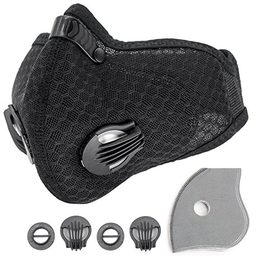 YnGia Dust Mask Air Filter Face Mask Activated Carbon Allergy Mask for Motorcycle Bikes Sports Woodworking Dustproof Anti Pollution Pollen Allergy PM2.5 Gas for Running Walking Cycling. (Black-1)