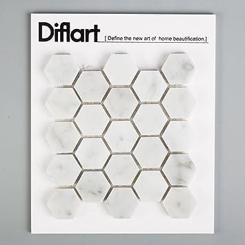 Diflart Carrara Italian White Carrera Marble Hexagon Mosaic Tile Bathroom Kitchen Backsplash Floor Tile Pack Of 5 Sheets 1 Inch Polished Sample