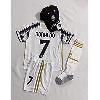 New 2021 Kids Soccer Jersey #7 Cristiano Ronaldo Juventus Home White Top + Shorts + Cap + Socks Kit
