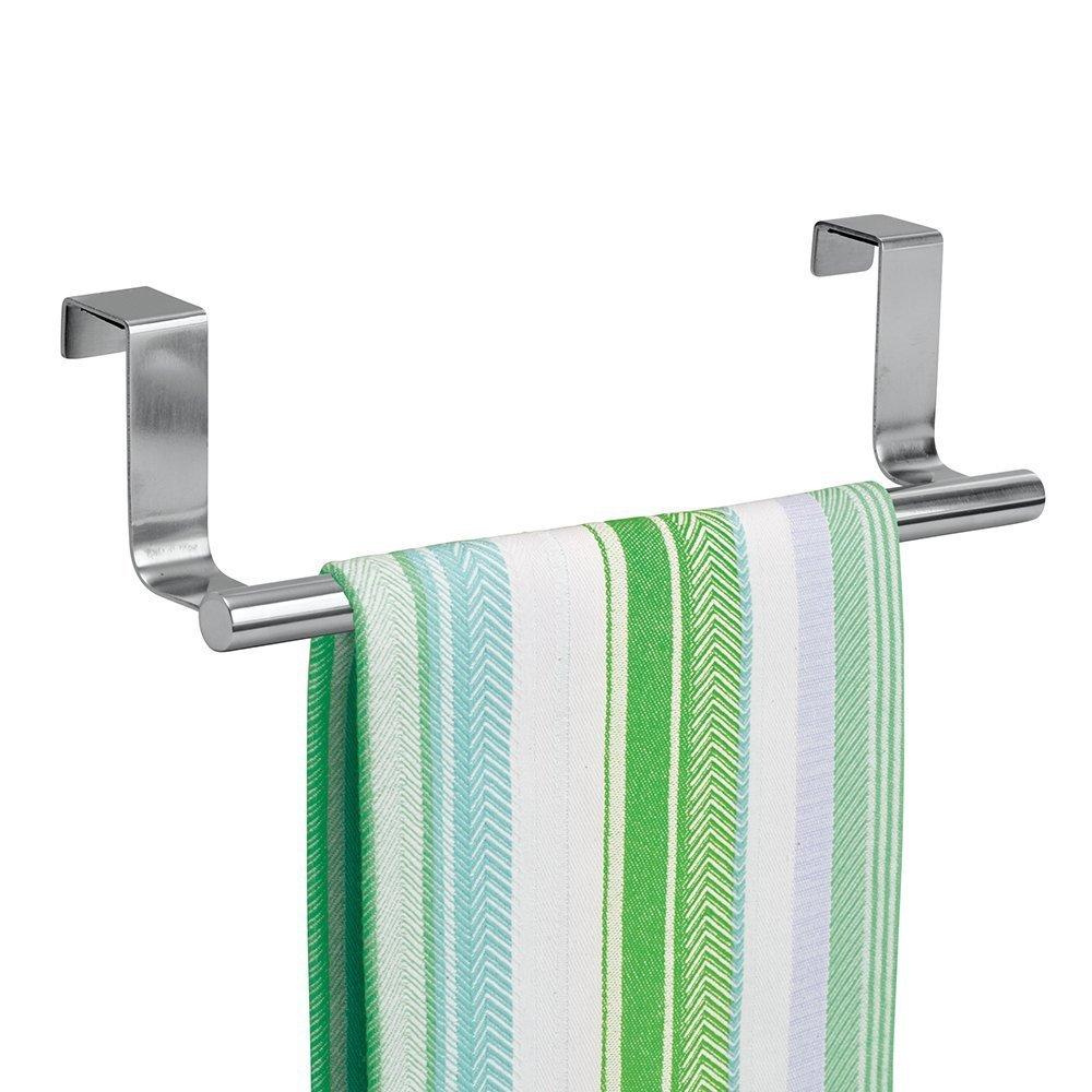 mDesign appendino - autoreggente – ideale porta salviette per l'armadio della cucina – colore acciaio brillante - senza montaggio - 23 cm MetroDecor