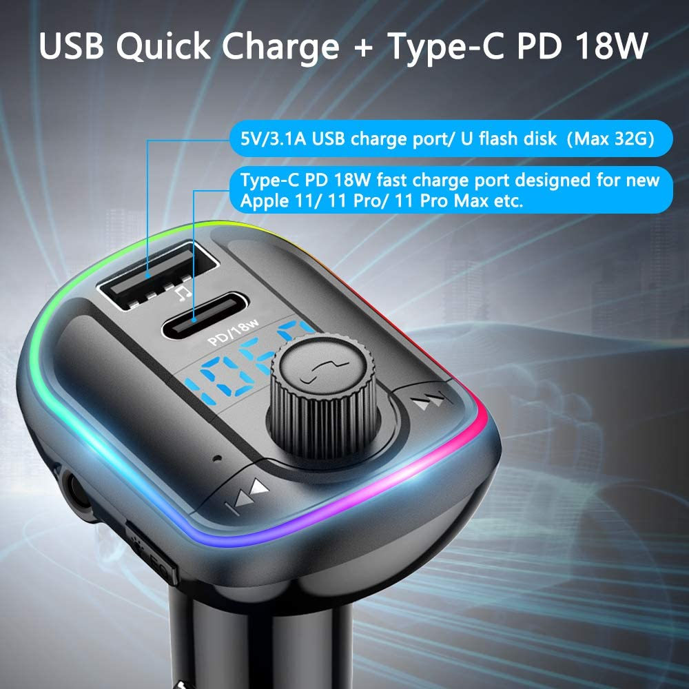 Support U Disk//TF Card//AUX Input Wodgreat FM Transmitter for Car Bluetooth Car Adapter Wireless FM Radio Transmitter Hands Free Car Kit 10 Colors LED Backlit Type-C Port PD 18W Car Voltage Display